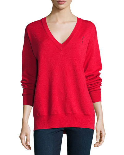 Merino V-Neck Pullover Sweatshirt, Red