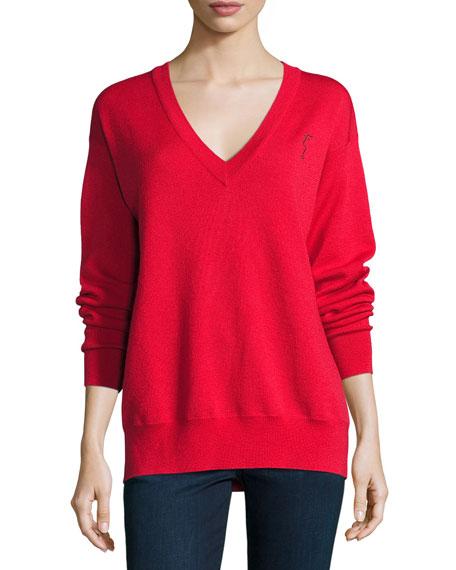 GREY by Jason Wu Merino V-Neck Pullover Sweatshirt,
