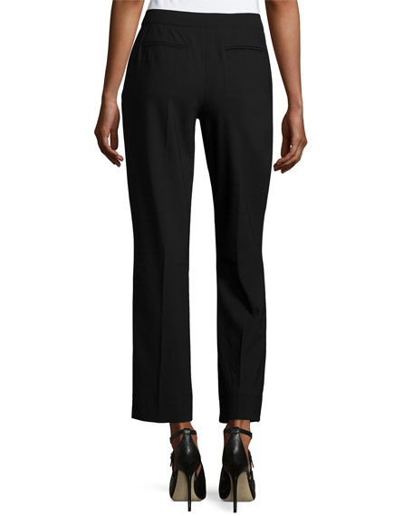 Cropped Gabardine Straight-Leg Pants, Black