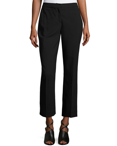GREY Jason Wu Cropped Gabardine Straight-Leg Pants, Black
