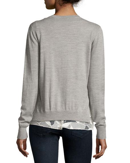 Melange Wool Lace-Trim Sweatshirt, Gray