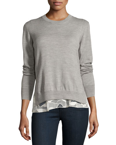 Melange Wool Lace-Trim Sweatshirt, Gray