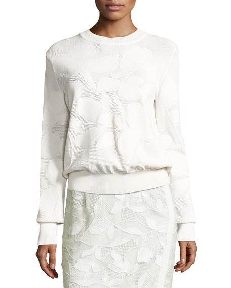 GREY Jason Wu Textured Intarsia Pullover Sweater, White