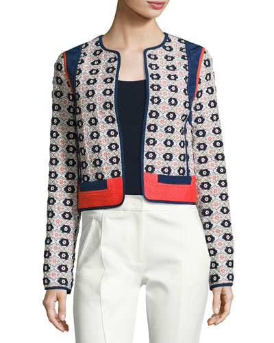 Rainford Daisy-Jacquard Cropped Jacket, Multi