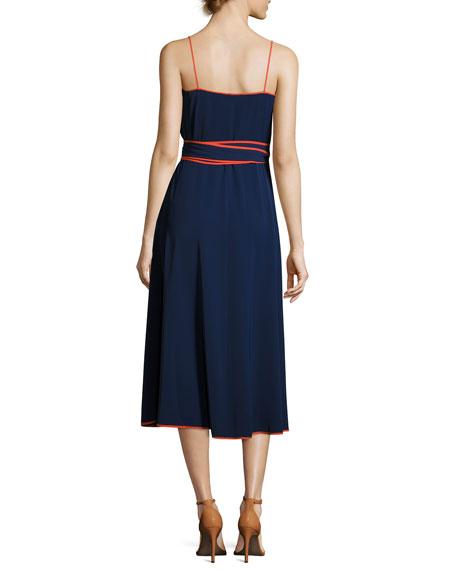 Grotto Contrast-Trim Wrap Slip Dress, Navy