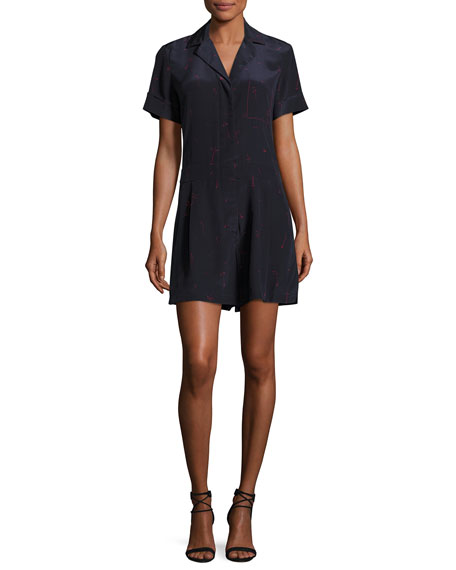 GREY by Jason Wu Short-Sleeve Printed Silk Romper,