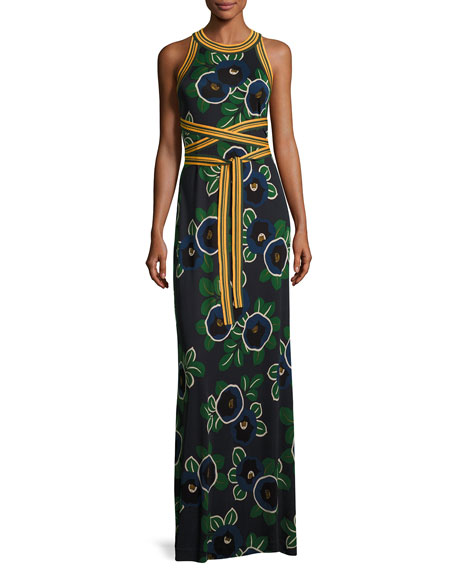 Tory Burch Kelso Sleeveless Floral Maxi Dress W Striped