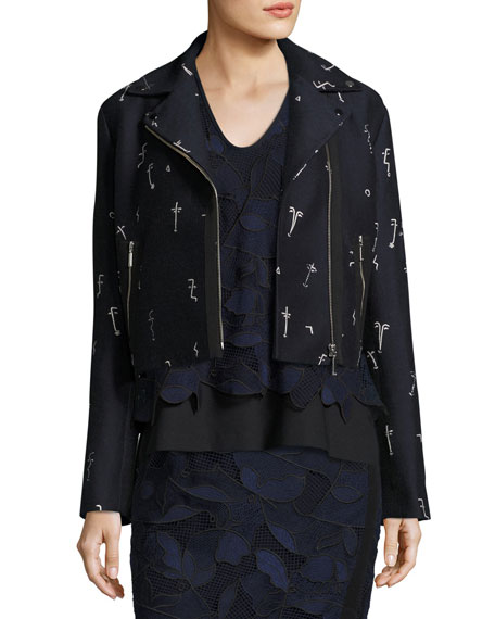 Embroidered Jacquard Moto Jacket, Blue