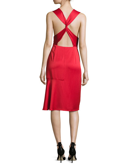 Jason Wu GREY Sleeveless Crisscross-Back Satin Cocktail Dress, Red
