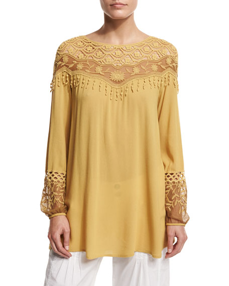 Jaci Crochet-Detail Crepe Top, Mustard
