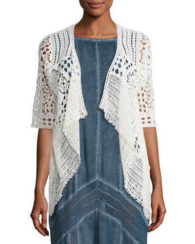 Crocheted Open Cardigan, Natural