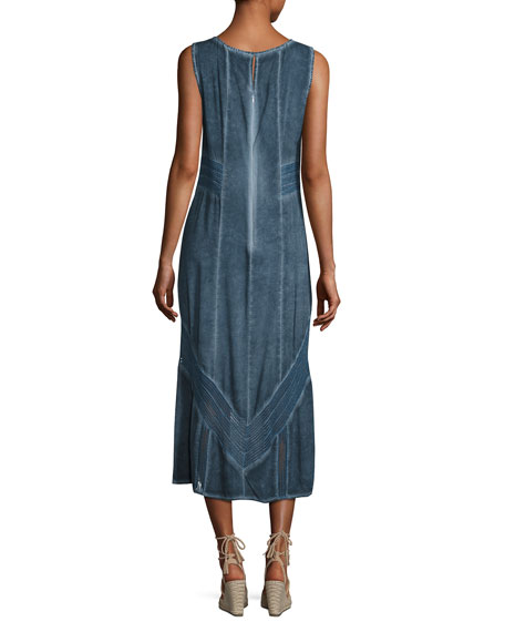 Long Paneled Denim Tank Dress, Blue