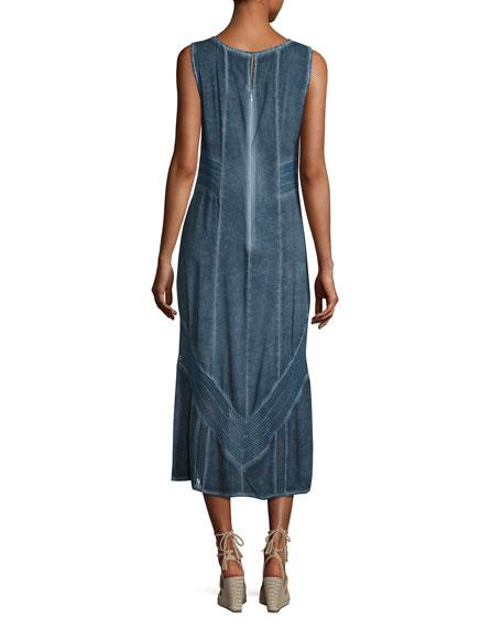 Long Paneled Denim Tank Dress, Blue