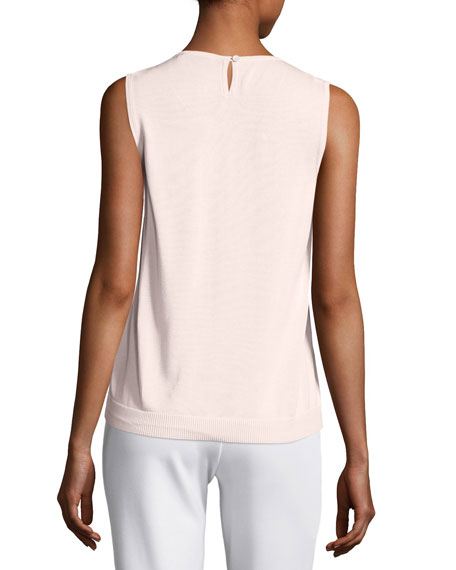 Scoop-Neck Lace Shell, Light Pink