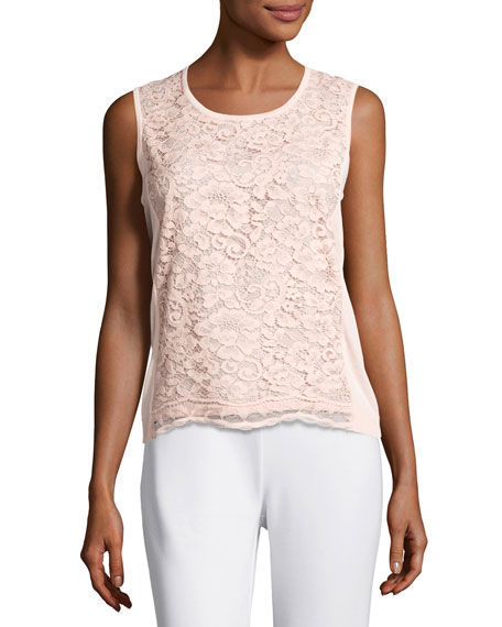 Joan Vass Scoop-Neck Lace Shell, Light Pink, Plus