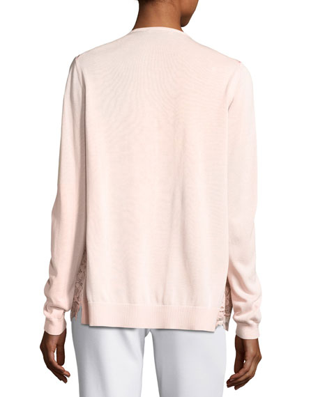 Lace-Front Cardigan, Light Pink, Petite