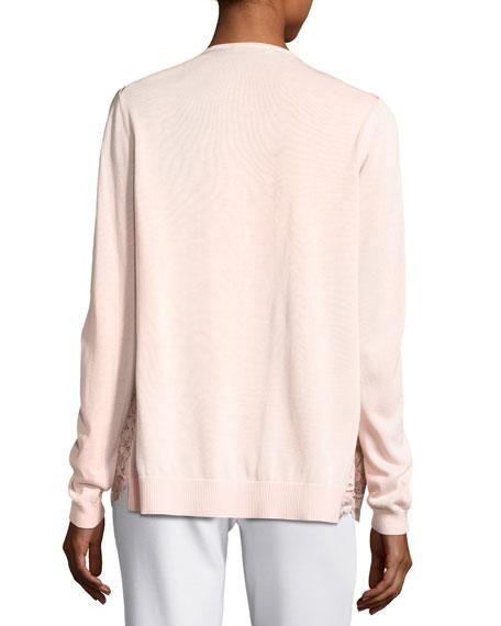 Lace-Front Cardigan, Light Pink, Plus Size