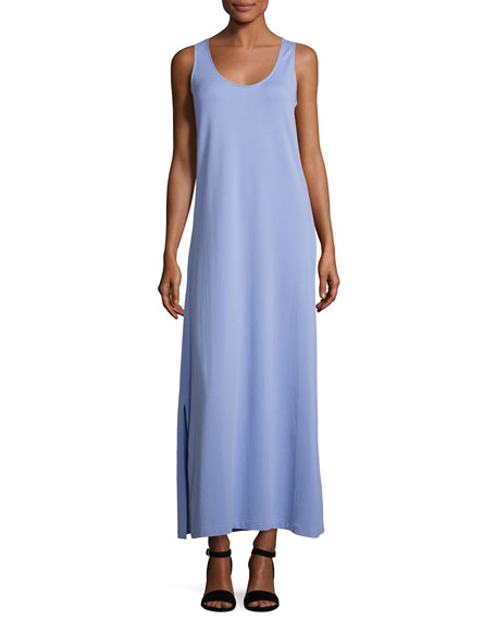 Joan Vass Pique Knit Long Tank Dress, Lavender