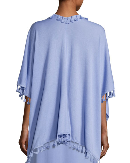 Draped Dolman-Sleeve Cardigan w/ Fringe Trim, Lavender, Plus Size