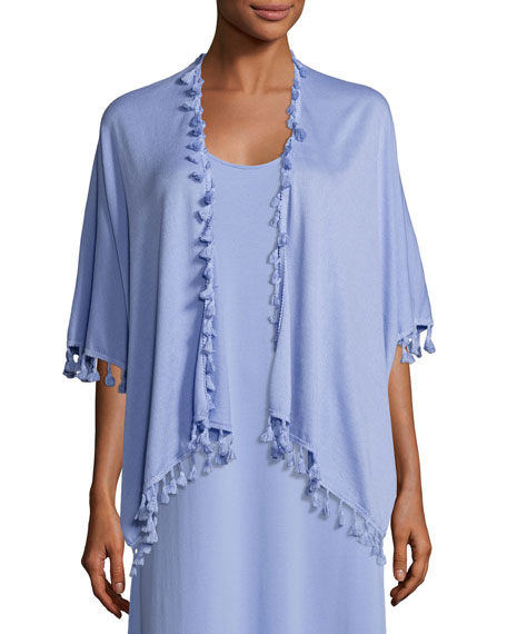Joan Vass Draped Dolman-Sleeve Cardigan w/ Fringe Trim,