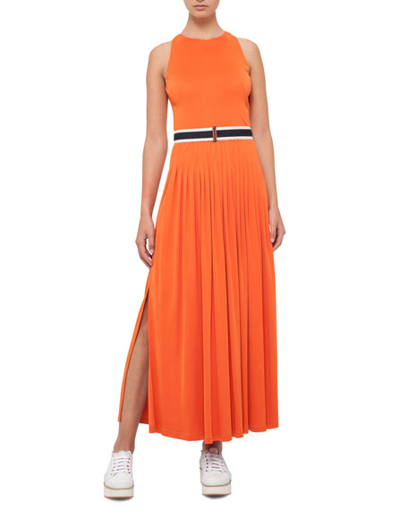 Pleated Sleeveless Maxi Dress, Peach