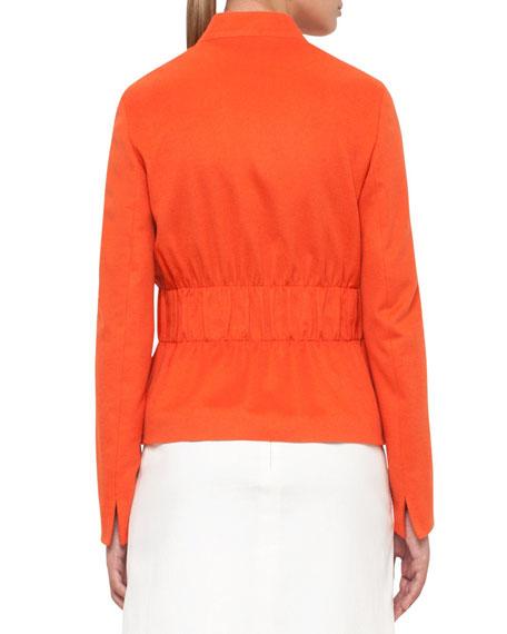 Gathered-Waist Zip-Front Jacket, Peach