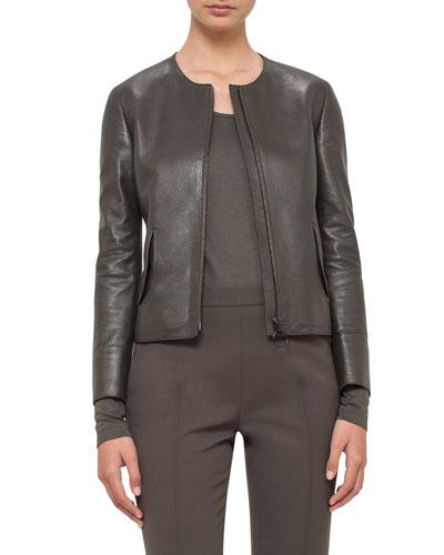 Perforated Leather Peplum Jacket, Olive