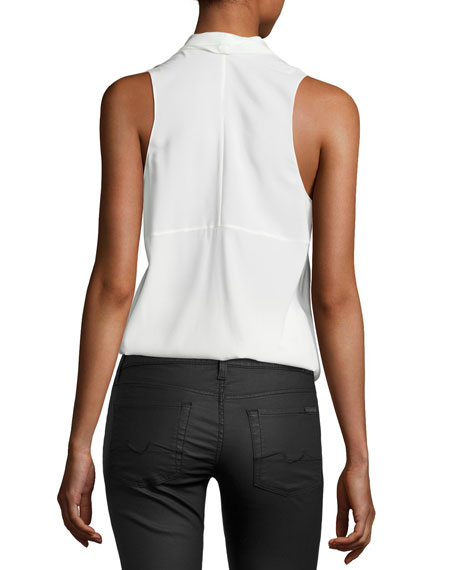 Robi Sleeveless Crepe Top, Ivory