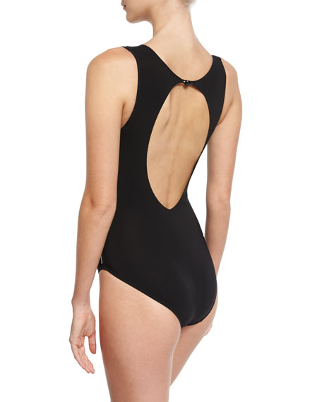 Mesh-Insert High-Neck One-Piece Swimsuit, Black
