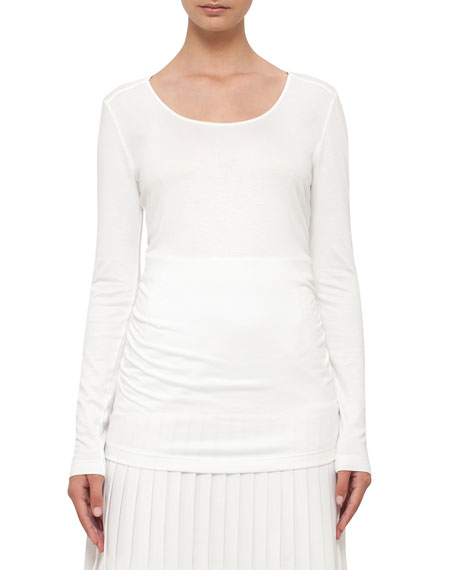 Akris punto Ruched Long-Sleeve Tee, Cream