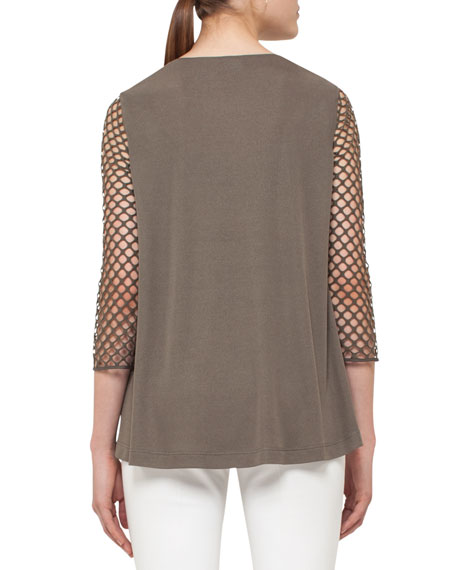 3/4-Sleeve Mesh Top, Olive
