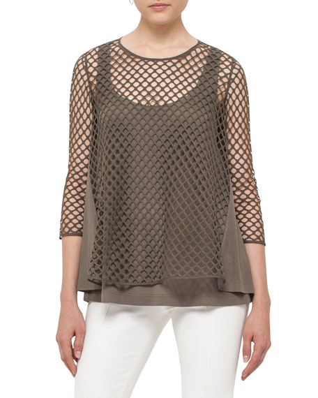 Akris punto 3/4-Sleeve Mesh Top, Olive