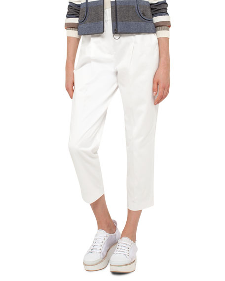 Akris punto Fred Cotton Ankle Pants, Cream