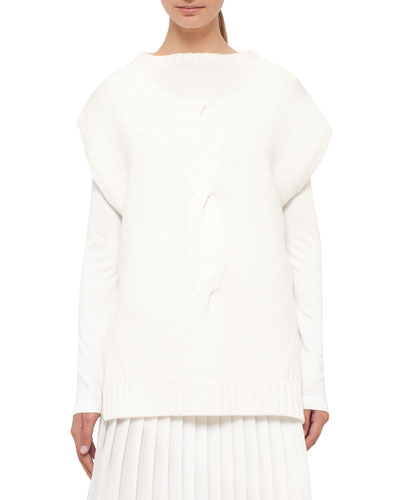 Cable-Knit Cap-Sleeve Sweater, Cream