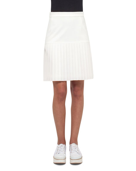 Akris punto Pleated Jersey Skirt, Cream