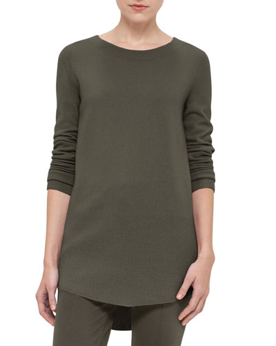 High-Low Pullover Tunic, Olive