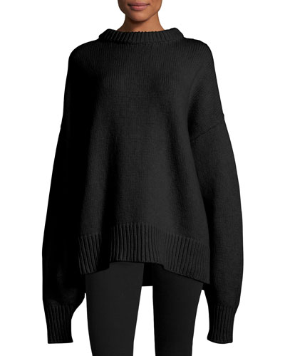 Ophelia Knit Drop-Shoulder Sweater, Black
