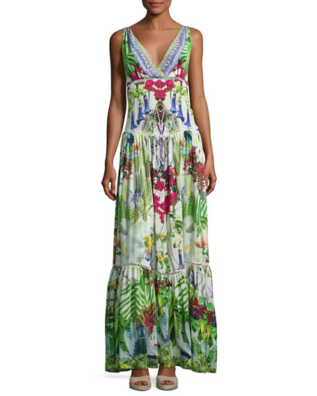 Camilla Tiered Sleeveless Silk Maxi Dress, Exotic Hypnotic