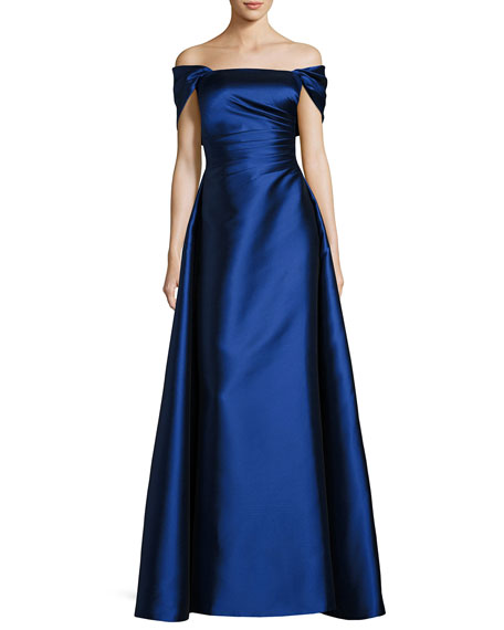 Helen Morley Strapless Satin Gown with Shrug