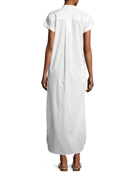 Kim Button-Front Coverup Maxi Dress, White