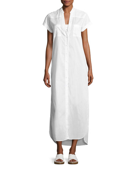 Onia Kim Button-Front Coverup Maxi Dress, White
