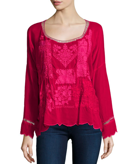 Puzzle Scalloped Georgette Top, Pinkberry