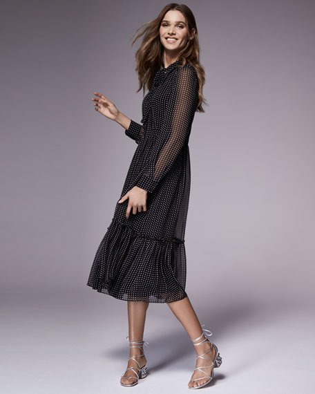 silk chiffon pin dot shirtdress, black/cream