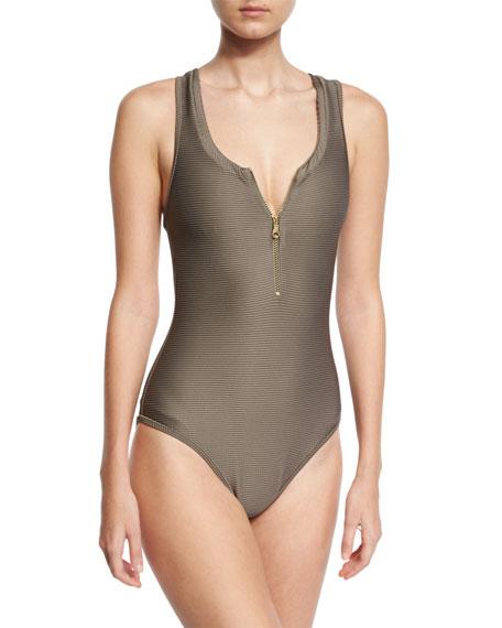 Heidi Klein Huntington Beach Zip-Front One-Piece Swimsuit, Gray