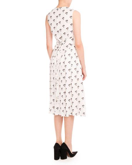 Sleeveless Pleated Daisy-Print Midi Dress