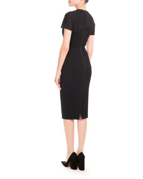 Short-Sleeve Lace-Yoke Dress, Black