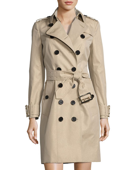 Sandringham Double-Breasted Mid-Length Trench Coat, Neutral