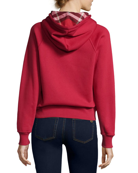 Check-Lined Hoodie, Red