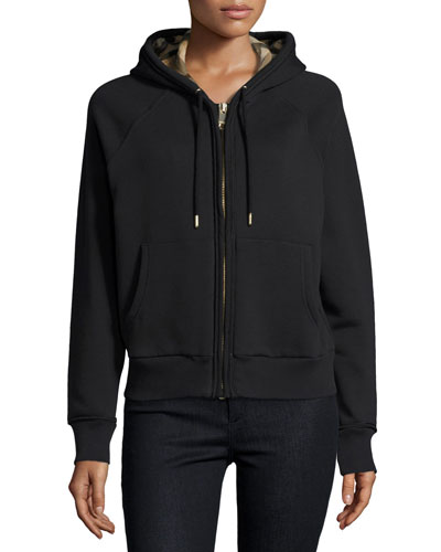 Check-Lined Hoodie, Black