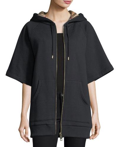 Half-Sleeve Check-Trim Hoodie Best Price